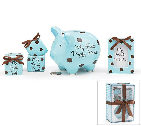 Baby Boy Keepsake Gift Set -- Teach them this early how to save. The sooner they learn, the better for them. This piggybank is just a first step. Comes with picture frame for him.