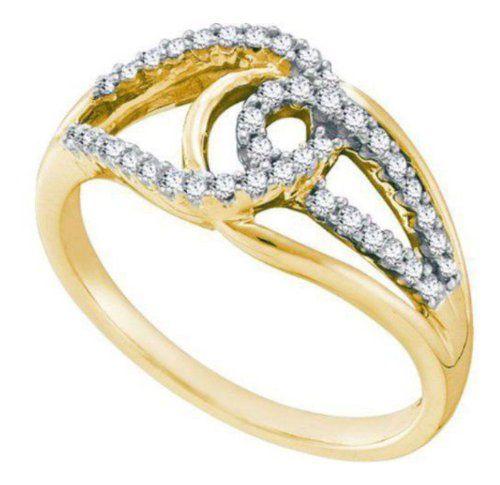 cttw 14k yellow gold diamond love knot engagement