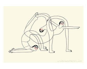 yoga mini poster - beyond your flexibility - A4 poster - yoga illustration - yoga drawing - yoga postures - mini-poster -digital print #RedCheeksFactory