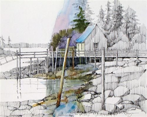 """Quiet Cove"" - Original Fine Art for Sale - © Paula Ensign"