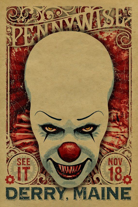 Various Sizes IT Vintage Movie Scary Clown Stephen King Wall Art Poster Print