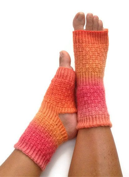 Yoga Socks Hand Knit in Pink and Orange Pedicure by MadebyMegShop, $30.00