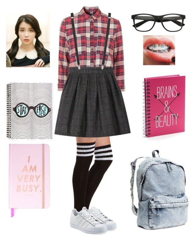 """Nerd Costume!!"" by valerieyang2001 ❤ liked on Polyvore featuring Topshop, Charlotte Russe, adidas Originals, Yves Saint Laurent, Simple Pleasures and H&M"