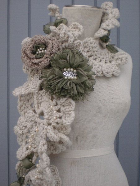 Sea Shell Scarf green by denizy03 on Etsy, $48.00
