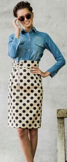 Dots! Chambray button-down with a polka-dotted, high-waisted pencil skirt - cute.