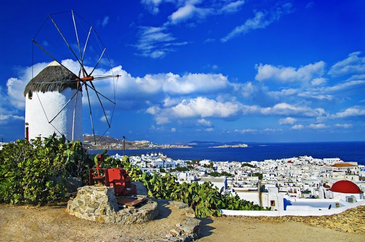 Windmill overlooking the city of Lefkada