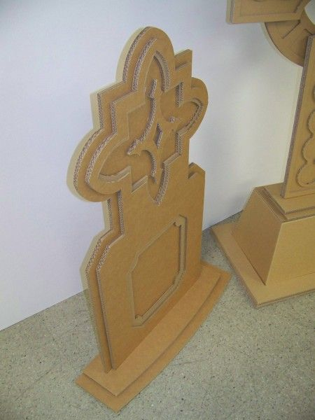 """Corrugated cardboard tombstones-cover with """"monster mud"""" aka dry wall compound mixed with paint & sand....."""
