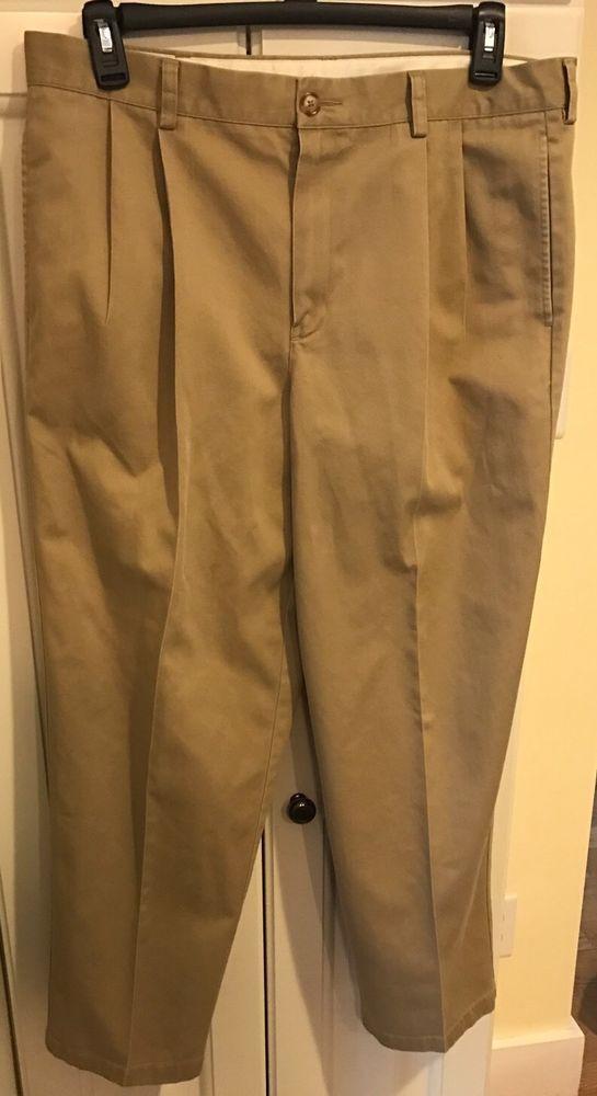 LL Bean Mens Tan Khakis Size 36x29 Pleated 4 Pocket Classic Fit #LLBean #DressPleat