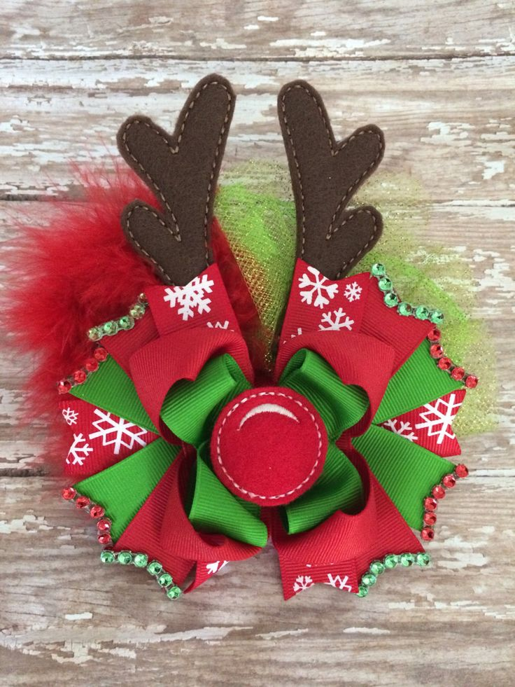 Christmas hair bow ott Reindeer hair bow by TheJMarieBoutique