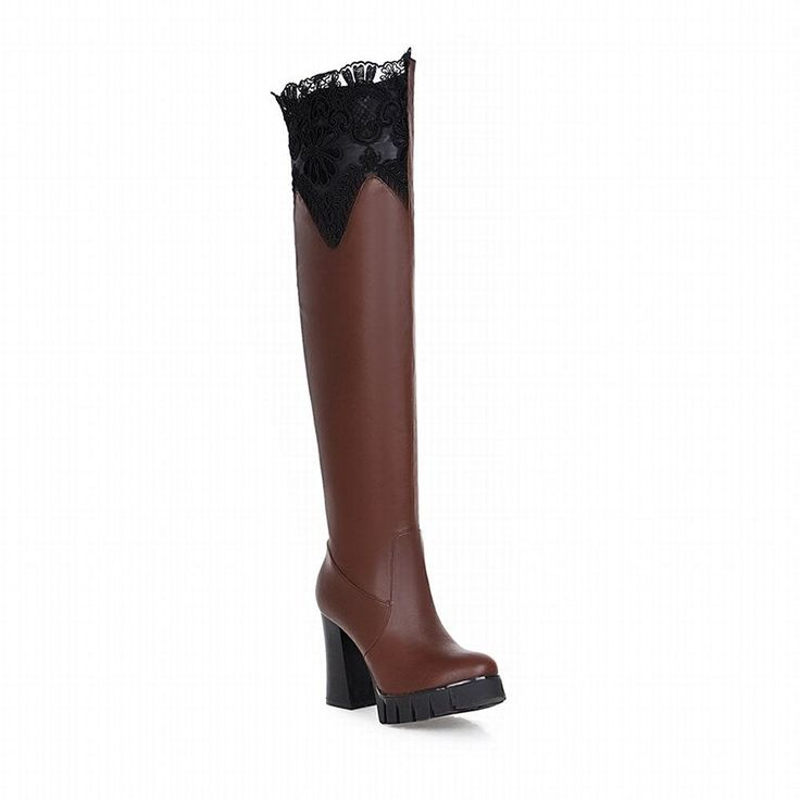 Carolbar Women's Lace Elegance Fashion Charm Night Club Sexy High Heel Tall Dress Boots >>> This is an Amazon Affiliate link. You can get more details by clicking on the image.