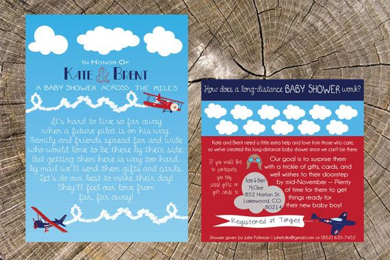 Airplane Long Distance Baby Shower Invitation & by JS7Designs
