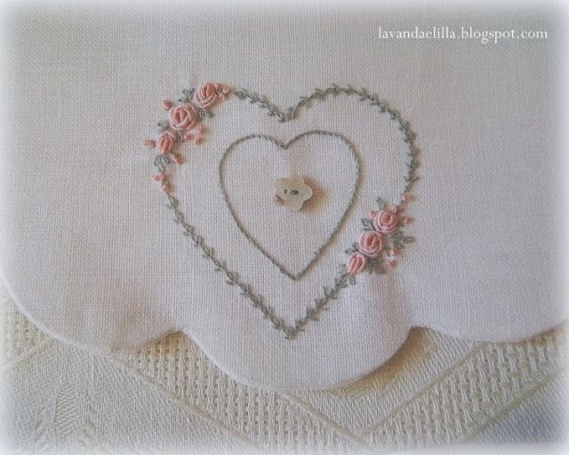embroidery bullion stitch roses heart wreath Lavanda e Lillà : Claudia Rita