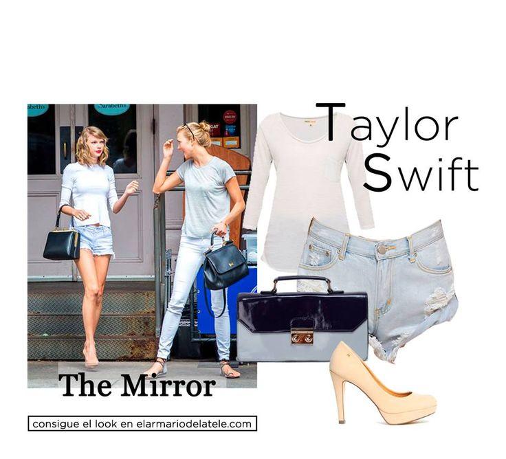 Presume de piernas como Taylor Swift con unos shorts vaqueros y tacones infinitos en color nude.