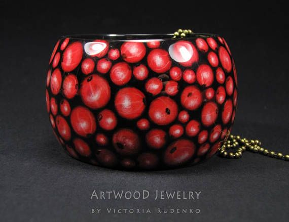 Wood Bracelet RedCurrant Painted Jewelry Series Unique Hand