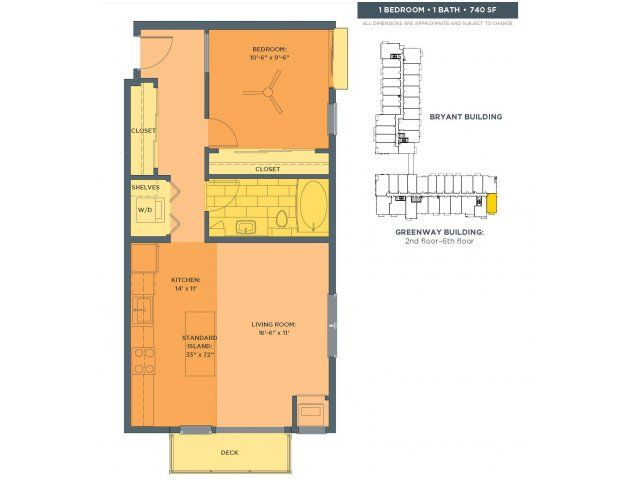 One Bedroom Floor Plan Of Property Track 29 City Apartments In Uptown Minneapolis With Studio 1 And 2 For