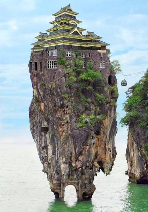 House on a rock Island in Honshu, Japan