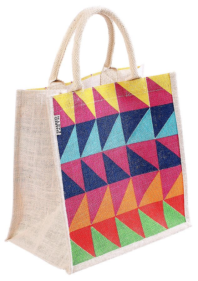 Reusable Jute Shopping Bag - Triangles - Shared Earth - This jute shopping bag has been hand-screen printed with a modern and vibrant geometric triangle print by Fair Trade producers in Kolkata, India and is both long-lasting and functional. #Biodegradable #RecycleReuse #Sustainable #EcoFriendly #FairTrade