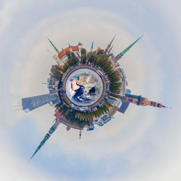 Riga old town skyline tiny planet