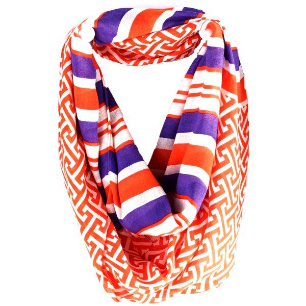 Game Day Two Pattern Infinity Scarf - Tangerine and Purple