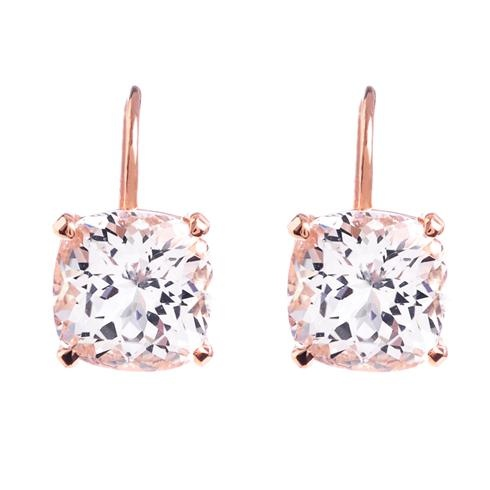 Greenwich Collection supremely sparkling danburite earrings in luxurious rose gold, at Greenwich Jewelers  $1100