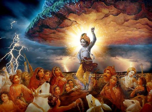 Krishna holding the Govardana mountain