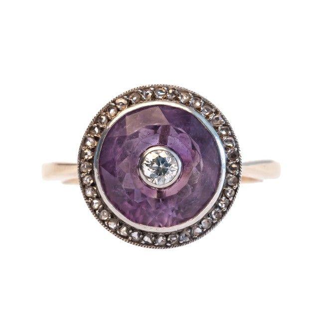 Viola vintage amethyst diamond ring from Trumpet & Horn