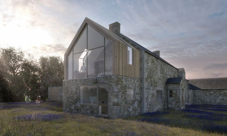 Side extension to a traditional farmhouse in Northumberland. Stunning gable glazing with a timber clad roof.  #extension #northumberland #greatspacearchitects #farmhouse #architecture #gable #gableglazing #timbercladding
