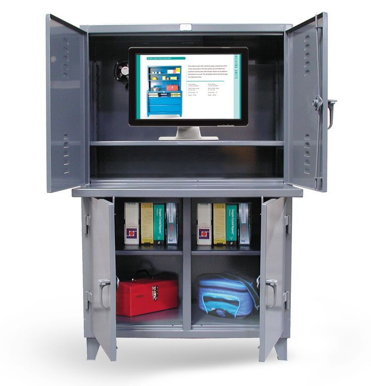In Plant System   Computer Workstation With Welded Shelf. Lower Double  Shift Compartment With 1