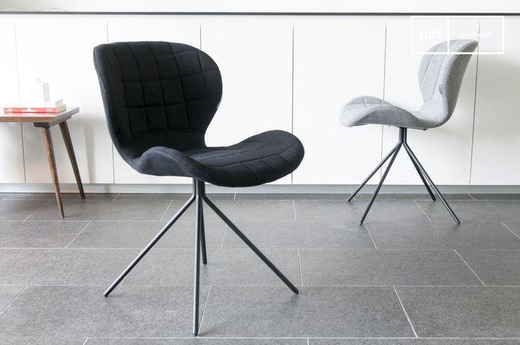 Chaise scandinave Hetsik noire au design épuré et discret. Un confort optimal grâce à ses courbes travaillées et son assise rembourrée. Idéale pour le bureau ou dans le salon.