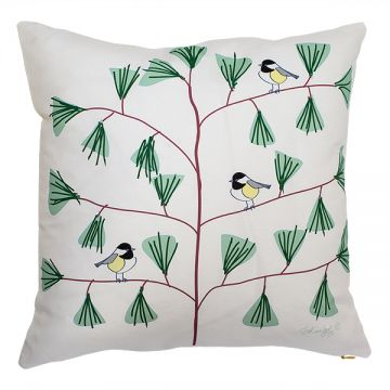 The Chickadee, Maine's state bird, with friends in a pine bough. 18x18 pillow with or without down-feather insert. Order now: http://troskodesign.com/shop/throw-pillow-chickadees-in-white-made-in-maine/
