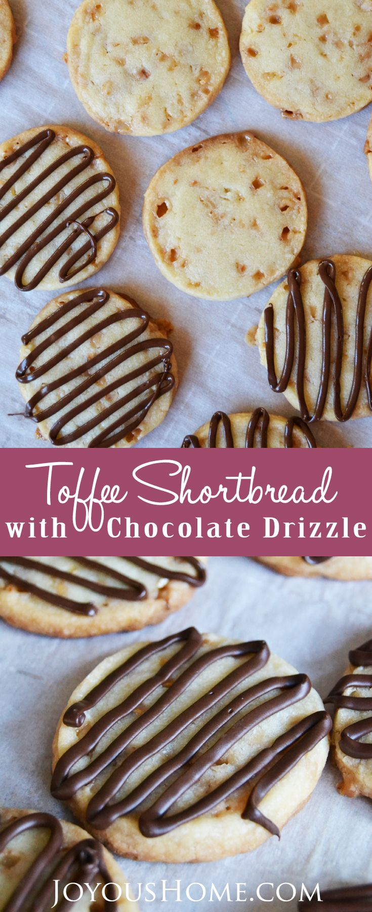 Delicious, tender toffee shortbread cookies filled with buttery toffee bits and covered with a yummy dark chocolate drizzle! via @joyhome