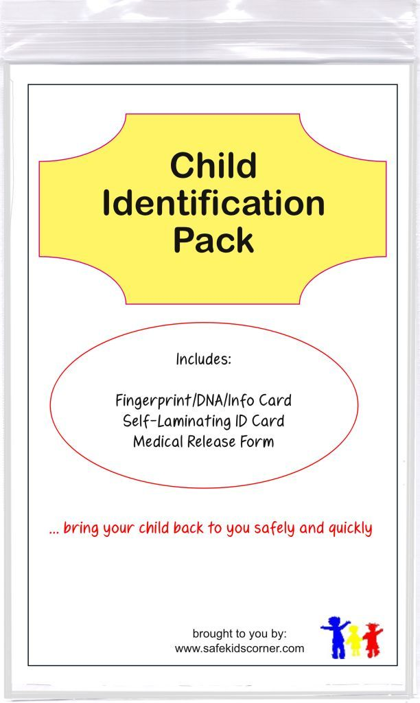 Child Identification Pack - a package of 3 child identification - medical release form for child