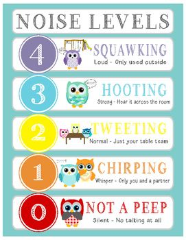 Owl Voice/Noise Levels - Turquoise An effective classroom management strategy to control voice and noise level in your classroom.