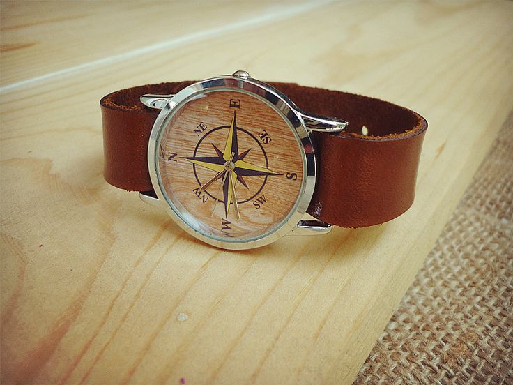 Wrist Watches – Sale Leather Watches compass watches modern watch – a unique product by ishomestudio on DaWanda