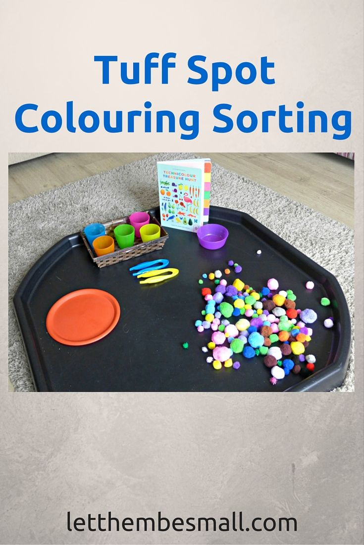 Ideas for a Colour Sorting Tuff Spot - for toddlers. Fine motor skill development