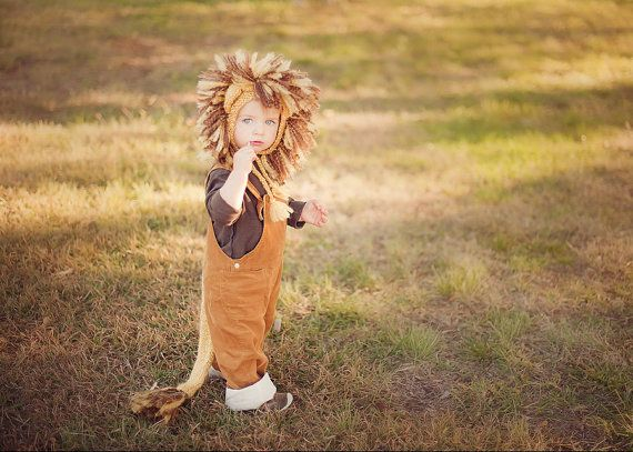Newborn Lion Costume....Lion Hat and Tail Set...Newborn Lion Photo Prop.... Baby Boy Hand Knit Yellow and Brown Lion Hat - Made to Order