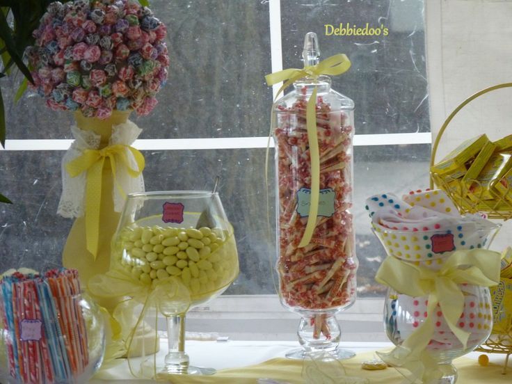 nostalgic candy table at a vintage wedding