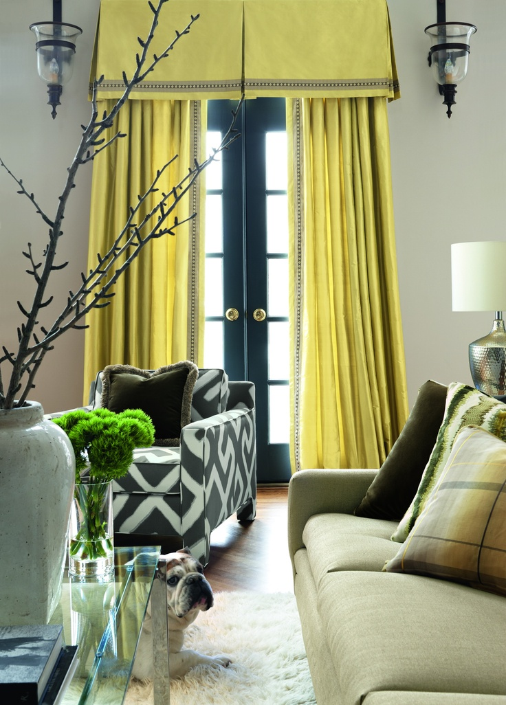 """Fabric by Unique Fabrics.  Travers """"Colibri"""" yellow silk curtain and tailored window valance, which gives added interest to this modern take on a classic curtain."""