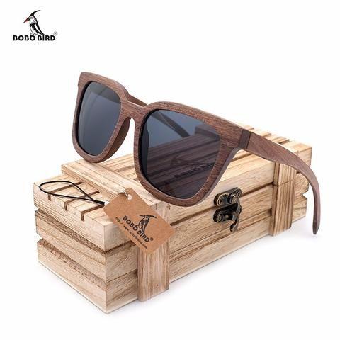 Eco-chic handmade sustainable walnut wood handmade sunglasses.