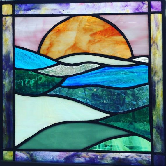 12 X 12 Stained Glass Harvest Moon Etsy In 2020 Stained Glass Panel Stained Glass Patterns Stained Glass