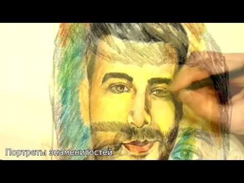 Портрет Ивана Урганта, акварельные карандаши, ручка