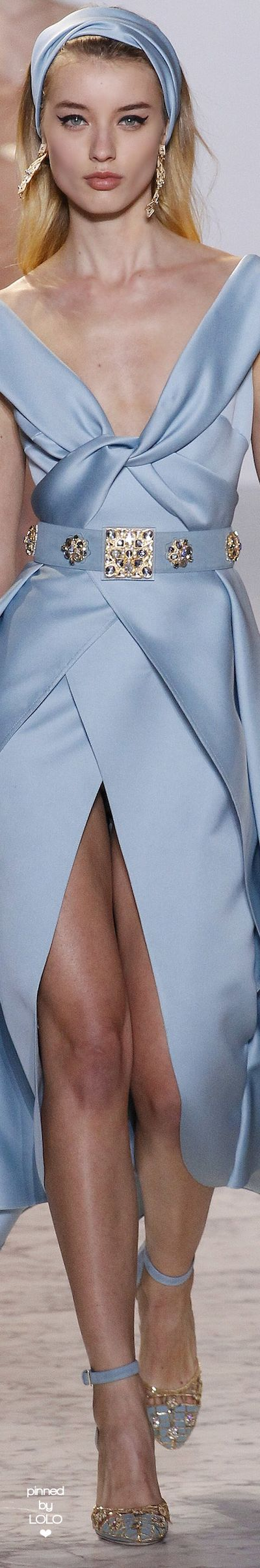 Elie Saab Spring 2017 Couture. Great summer look, strong baby blue with Jackie O wide headband. accessorize with lots of high and prominent cheekbones, collarbones, hipbones ...