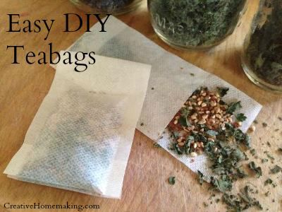 How to make your own tea bags from fresh dried herbs.