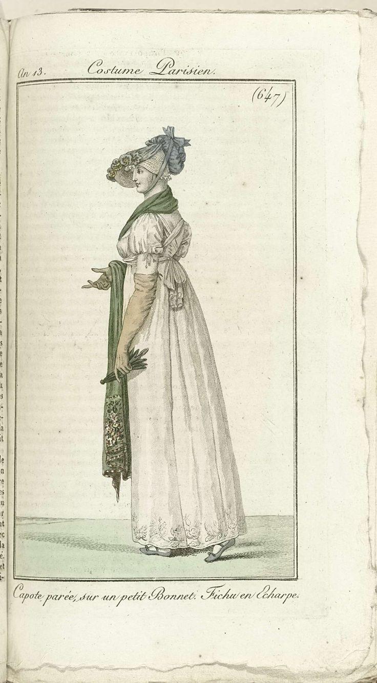 Journal des Dames et des Modes, Costume Parisien, 1805, An 13 (647) Capote parée..., Horace Vernet, Pierre de la Mésangère, 1805