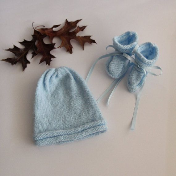 Hat and booties baby set baby sky blue set by ProjectKnitting