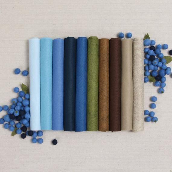 Wool Felt Blueberry Hill 10 9x12 12x18 Wool Felt Sheets Felt Fabric Fall Crafts Benzie Design Gifts For Her Felt Garland Felt Sheets Diy Felt Garland Wool Felt