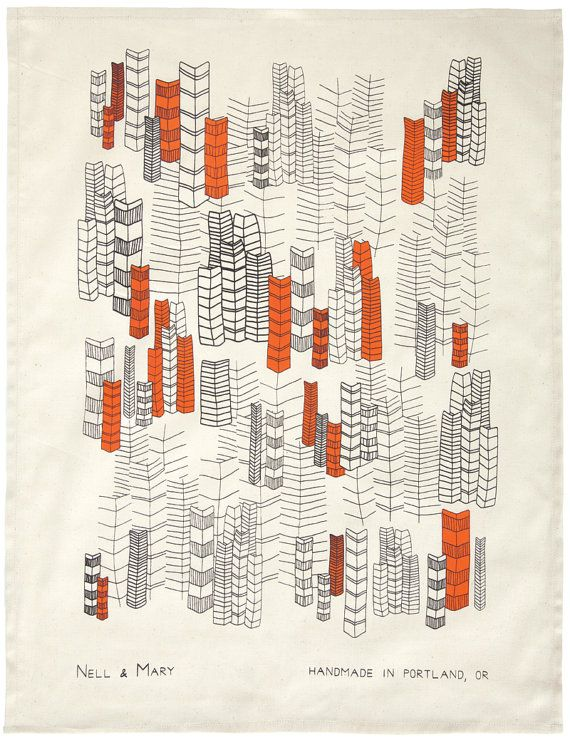 Feather Cities Tea Towel Orange by nellandmary on Etsy, $18.00