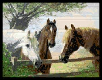 The trio horses cross stitch kit or pattern