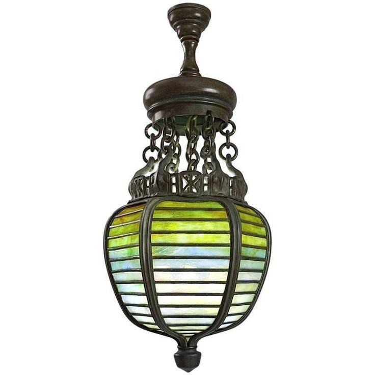Tiffany Studios New York Bronze And Glass Lantern
