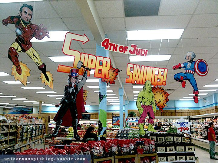 """At Trader Joe's this morning. So good. Artist: Jesse Draper"": Fourth Of July, Found Father, Superhero Funny, Trader Joe, Funny Stuff, 4Th Of July, Funny Photos, Super Heroes, The Avengers"